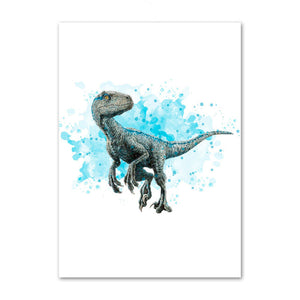 Nordic style watercolor art deco animal Tyrannosaurus dinosaur poster mural for children's room decoration canvas painting K502