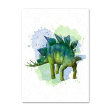 Load image into Gallery viewer, Nordic style watercolor art deco animal Tyrannosaurus dinosaur poster mural for children's room decoration canvas painting K502