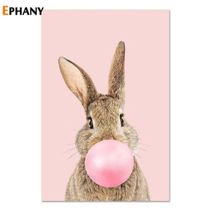 Kawaii Pink Bubble Gum Animal Child Poster Nursery Canvas Print Wall Art Painting Nordic Kids Decoration Picture Baby Room Decor
