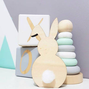 Natural Nordic Style Wooden Rabbit Ornaments Children's Room Decoration Wood Craft Kids Safe Toys Gifts Photography Props