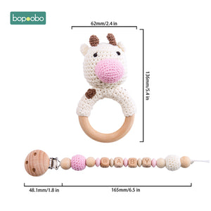 Bopoobo Baby Teether Food Grade Silicone Wooden Baby Pacifier Chain Pram Crib DIY Customized Rattle Soother Bracelet Teether Set