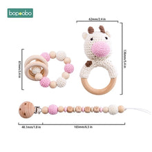 Load image into Gallery viewer, Bopoobo Baby Teether Food Grade Silicone Wooden Baby Pacifier Chain Pram Crib DIY Customized Rattle Soother Bracelet Teether Set