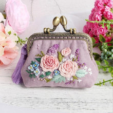 Load image into Gallery viewer, DIY Embroidery Wallet Ribbon Flowers for Beginner Needlework Kits Cross Stitch Series Arts Crafts DIY Coin Purse Materials Kit