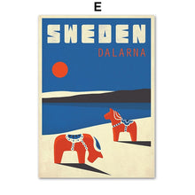 Load image into Gallery viewer, Sweden Denmark Travel Vintage Poster Wall Art Canvas Painting Nordic  Pictures And Prints Home Decor For Living Room