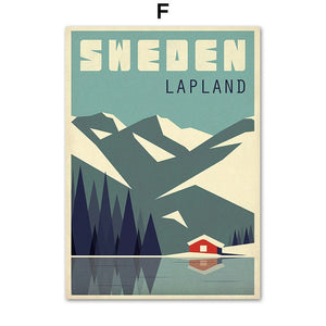 Sweden Denmark Travel Vintage Poster Wall Art Canvas Painting Nordic  Pictures And Prints Home Decor For Living Room