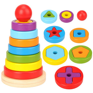 New Cheap Reaction puzzle game Kids Toys Rainbow pyramid Nesting Stacking Baby Shape Games Toy For Children DIY Birthday Present