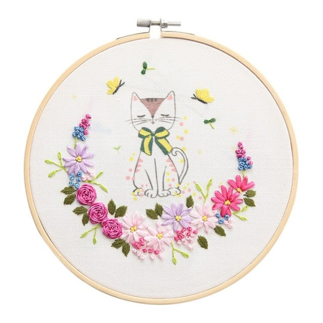 Easy Ribbon Embroidery Sale With Retro Hoop for Beginner Needlework Cross Stitch Kit Handmade Sewing Wall Decor Flowers Series