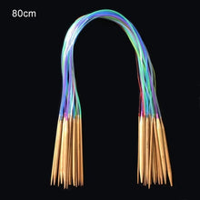 Load image into Gallery viewer, 18 pcs Knitting Needles Multicolor Tube 40-120cm Bamboo Circular Crochet Knitting Needles Set Sewing Needles #105