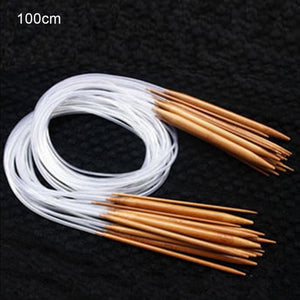 18 pcs Knitting Needles Multicolor Tube 40-120cm Bamboo Circular Crochet Knitting Needles Set Sewing Needles #105