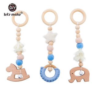 Let'S Make Wooden Baby Toys Gym Wood Animal Rattles 3pcs/set Wooden Teether Kids Toys