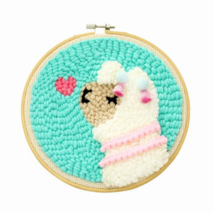 DIY Knitting Wool Rug Hooking Kit Handcraft Woolen Embroidery Creative Gift with 19 x 19 cm Embroidery Frame Punch Needle Alpaca