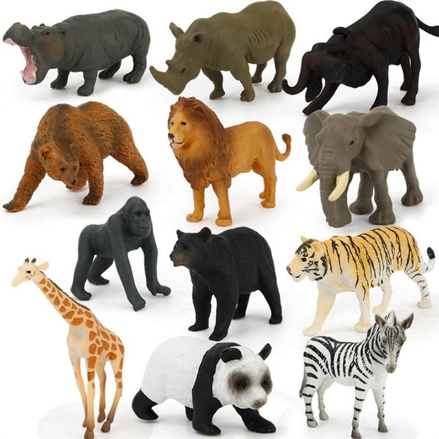 12Pc/set Plastic Zoo Animal Figure Tiger Leopard Hippo Giraffe Kids Toy Lovely Animal Toys Set Gift For Kids Puzzle Learning Toy