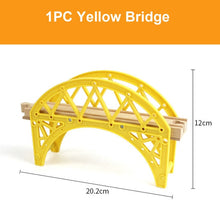 Load image into Gallery viewer, Beech Wooden Train Track Railway Bridge Tunnel Accessories Fit for Brio Wood Train Pieces Educational Toys for Children Gifts