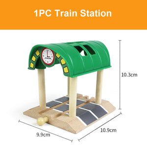 Beech Wooden Train Track Railway Bridge Tunnel Accessories Fit for Brio Wood Train Pieces Educational Toys for Children Gifts