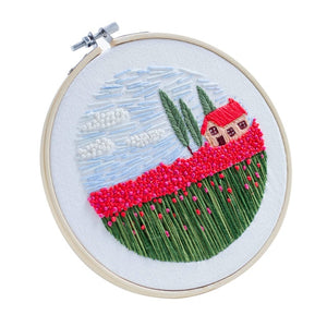 15 x 15cm DIY Cross Stitch Embroidery Starter Kit with Bamboo Embroidery Hoop - Carnation
