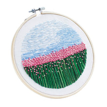 Load image into Gallery viewer, 15 x 15cm DIY Cross Stitch Embroidery Starter Kit with Bamboo Embroidery Hoop - Carnation