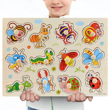 Load image into Gallery viewer, New 30cm Baby Toys Montessori Wooden Puzzle Hand Grab Board Educational Wood Puzzles for Kids Cartoon Animal Vehicle Child Gift