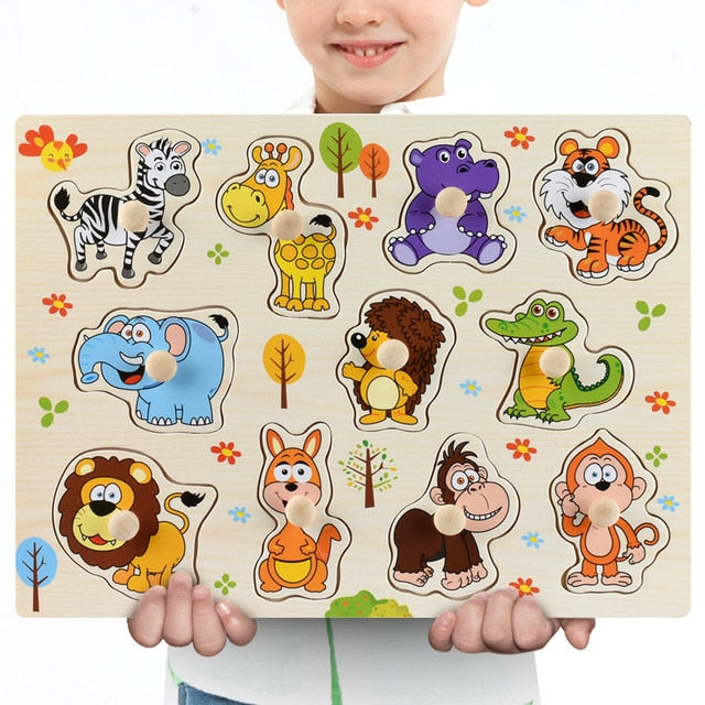 New 30cm Baby Toys Montessori Wooden Puzzle Hand Grab Board Educational Wood Puzzles for Kids Cartoon Animal Vehicle Child Gift