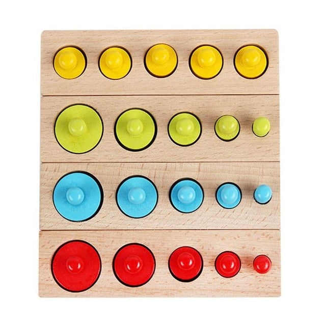 Kids Montessori Educational Wooden Toys Colorful Socket Cylinder Block Set For Children Educational Preschool Early Learning Toy