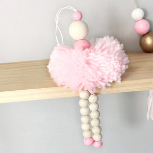 Nordic Wood Wall Hangings Cute Wool Ball Pendants Children Bedding Tent Decoration Kids Girl Room Nursery Decor Photography Prop