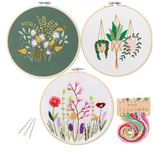 Load image into Gallery viewer, DIY Stamped Embroidery Starter Kit with Flowers Plants Pattern Embroidery Cloth Color Threads Tools Kit