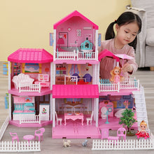 Load image into Gallery viewer, Girls Pretend Toy Handmade Doll house Castle DIY House Toy Miniature Dollhouse Birthday Gifts Educational Toys Doll Villa Girl