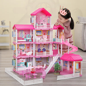 Girls Pretend Toy Handmade Doll house Castle DIY House Toy Miniature Dollhouse Birthday Gifts Educational Toys Doll Villa Girl