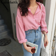 Load image into Gallery viewer, Colorfaith New 2020 Women Spring Summer Blouse Shirts Plaid Fashionable Single Breasted Casual Loose Wild Sweet Pink Tops BL023