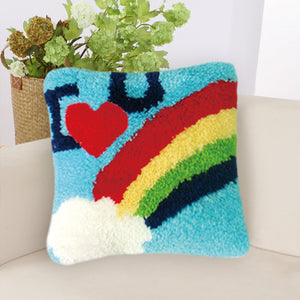 Rainbow SeriesGrass Coarse Wool Latch Hook Kits DIY Cross Stitch Carpet Embroidered Girl Segment Embroidery DIY Rug Hooking Set