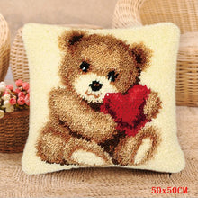 Load image into Gallery viewer, Bear Grass Coarse Wool Latch Hook Hook Pillow Kits Cross Stitch Carpet Embroidery Segment Embroidery DIY Rug Hooking Set