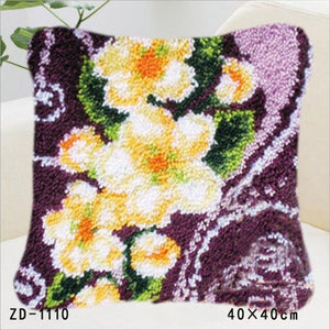 Embroidered Latch Hook Pillowcase Cushion Rug Kits Flower Knitting Knooppakket Paragraphs Wool Crochet Hook Embroidery Pillows