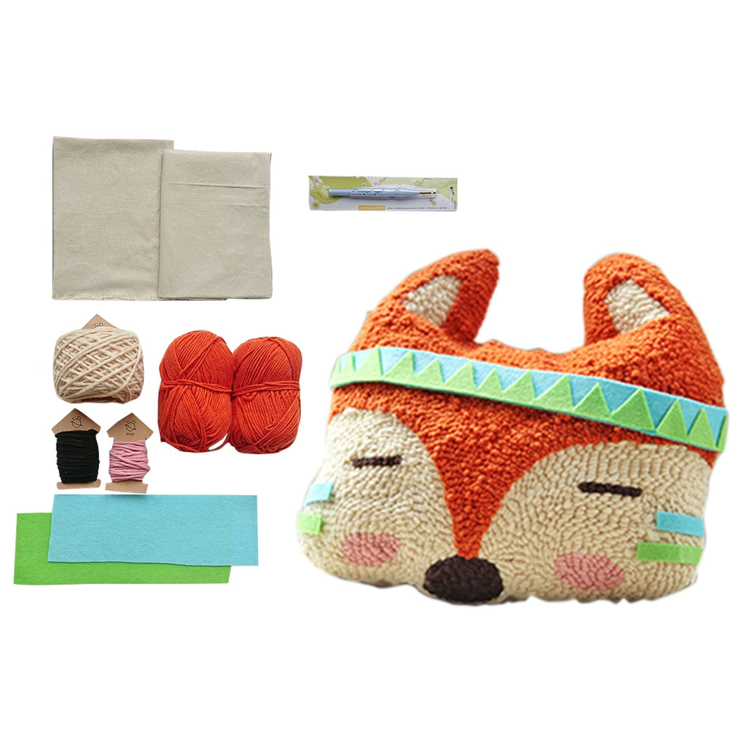 Hot DIY Knitting Wool Rug Hooking Kit Handcraft Woolen Embroidery Creative Gift With Knitting Wool / Cotton / Tool - Fox Doll