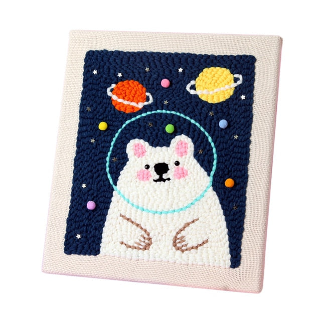 DIY Knitting Wool Rug Hooking Kit Handcraft Woolen Embroidery Creative Gift with 26x30c Solid Wood Frame Punch Needle-Polar Bear