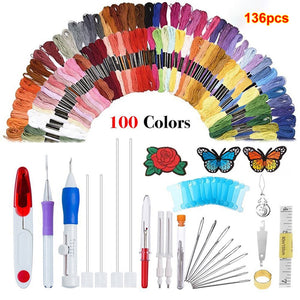 136Pcs Mix Colors Sewing Skeins Cross Stitch Embroidery Threading Floss Tools DIY Rug Hooking Punch Stitching Sewing Craft Tools