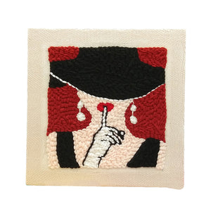 DIY Knitting Wool Rug Hooking Kit Handcraft Woolen Embroidery Creative Gift with Punch Needle Wooden Frame and Holder -Sexy Girl