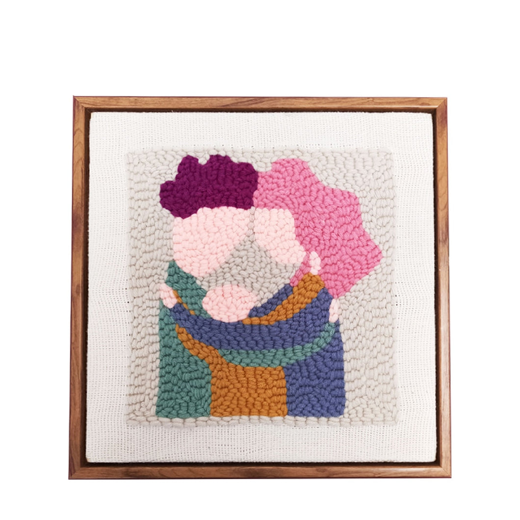 DIY Knitting Wool Rug Hooking Kit Handcraft Woolen Embroidery Creative Gift with 26 x 26cm Wooden Frame Punch Needle Photo Frame