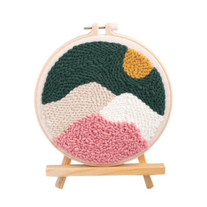 Hot DIY Knitting Wool Rug Hooking Kit Handcraft Woolen Embroidery Creative Gift With 20cm Embroidery Frame Punch Needle Bracket