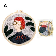 Load image into Gallery viewer, Woolen DIY Kit DIY Embroidery Tool Wool Rug Hooking Kit Handcraft Set Cross Stitch Kit Embroidery Frame Punch Needle Alpaca