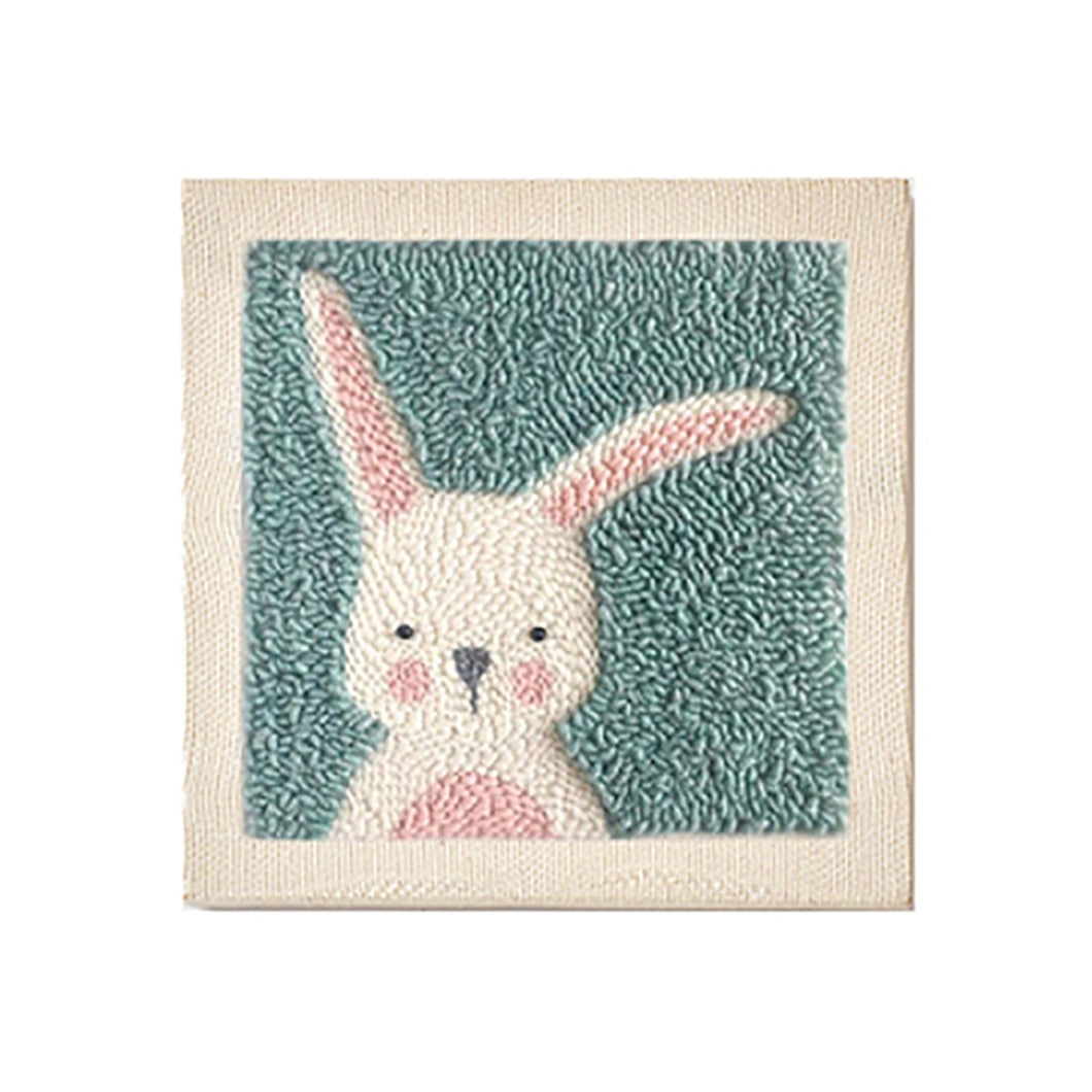 DIY Knitting Wool Rug Hooking Kit Handcraft Woolen Embroidery Creative Gift with 26 x 26cm Wooden Frame Punch Needle - Rabbit