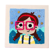 Load image into Gallery viewer, DIY Knitting Wool Rug Hooking Handcraft Woolen Embroidery Gift with 26 x 26cm Solid Wood Frame  Little Girl with Glasses