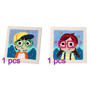 DIY Knitting Wool Rug Hooking Handcraft Woolen Embroidery Gift with 26 x 26cm Solid Wood Frame  Little Girl with Glasses