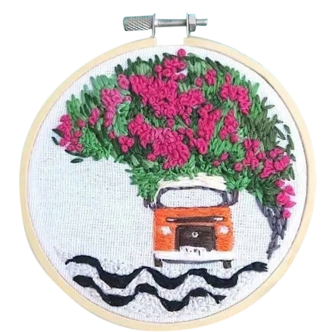 DIY Knitting Wool Rug Hooking Kit Handcraft Woolen Embroidery with 15 x 15cm Embroidery Frame Punch Needle - Dream Car Azalea