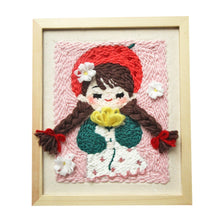 Load image into Gallery viewer, DIY Knitting Wool Rug Hooking Kit Handcraft Woolen Embroidery 25 x 30cm Wooden Frame Poke Needle Photo Frame Girl Strawberry Hat