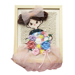 DIY Knitting Wool Rug Hooking Kit Handcraft Woolen Embroidery 25 x 30cm Wooden Frame Poke Needle Photo Frame Girl Strawberry Hat