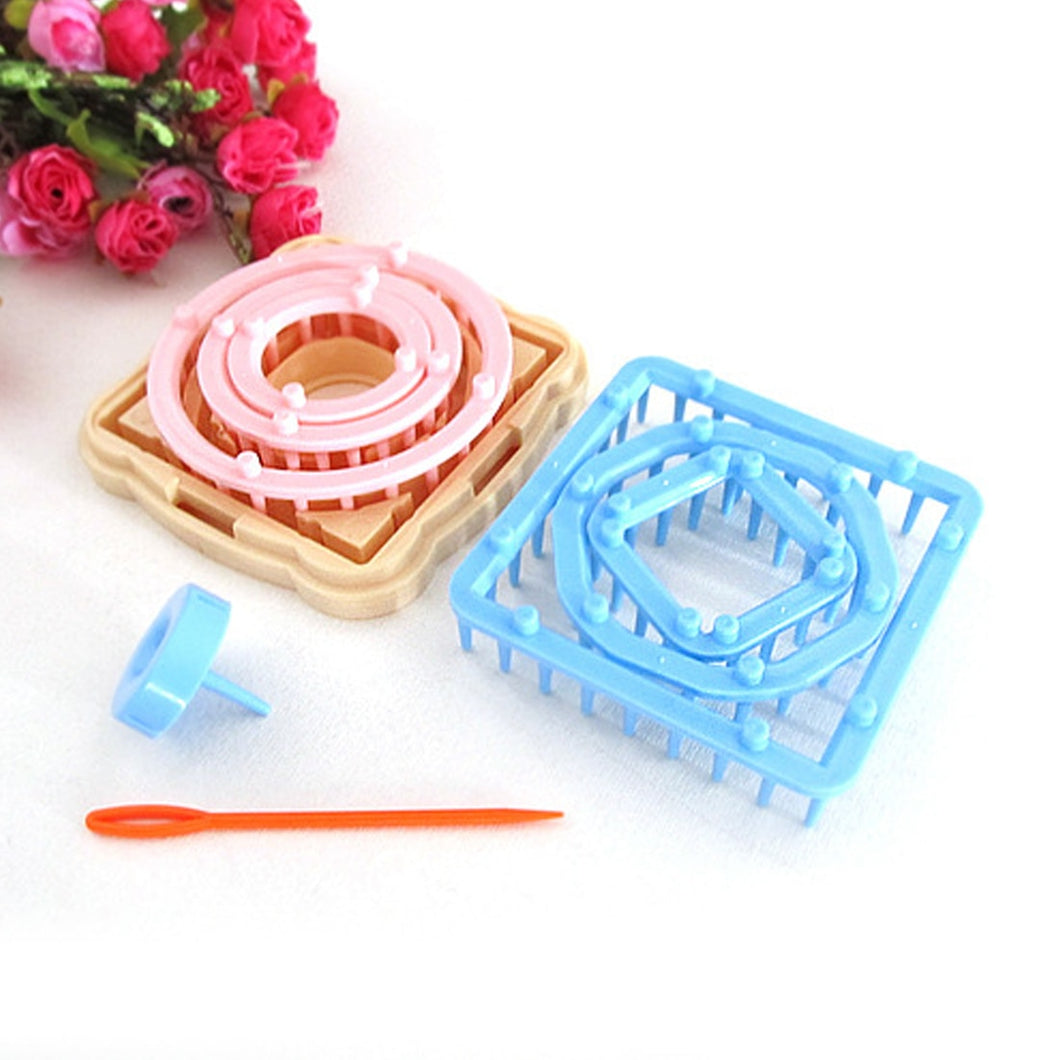 New 1Set DIY Weaving Tools Creator Yarn Needle Hobby Loom Knitting Machine Color Stitching Tools Flower Loom Knitting Woolen