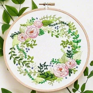 3D DIY Handmade Full Range Of Embroidery Starter Kit With Pattern Cross Stitch Kit With Bamboo Embroidery Hoop