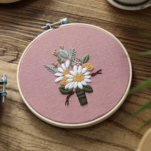 Load image into Gallery viewer, DIY Embroidery Flower Handwork Needlework for Beginner Cross Stitch Kit Ribbon Painting Embroidery Hoop Home Decoration