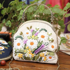 3D DIY Ribbon Embroidery Bag Set, Needlework Kits Cross Stitch Chain Bag with Hoop,Handmade Swing Purse Wallet Creative Gift