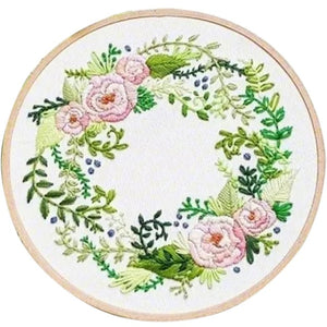 DIY Handmade Full Range Of Embroidery Starter Kit With Pattern Cross Stitch Kit With Bamboo Embroidery Hoop