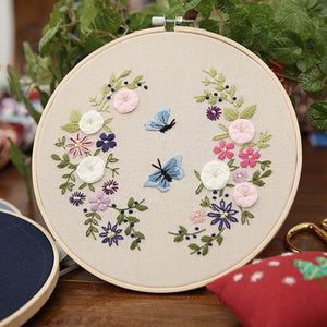 DIY Embroidery Starter Kit Pre Printed Needlework Flower Pattern Color Threads with Embroidery Hoop NIN668